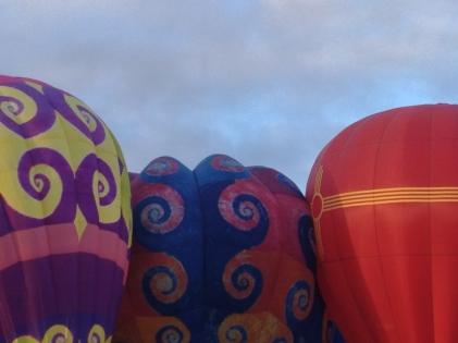 Balloons crowd the field -- Balloon Fiesta 2014