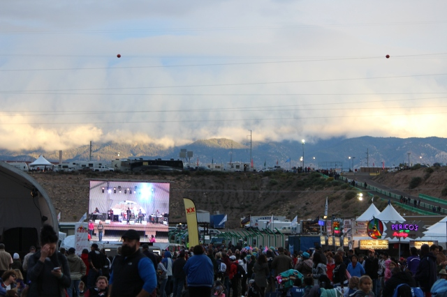 Seen from afar, the concert stage at Balloon Fiesta 2014