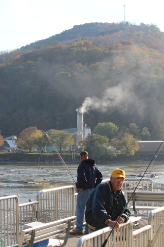 Fishermen at Bluestone Dam