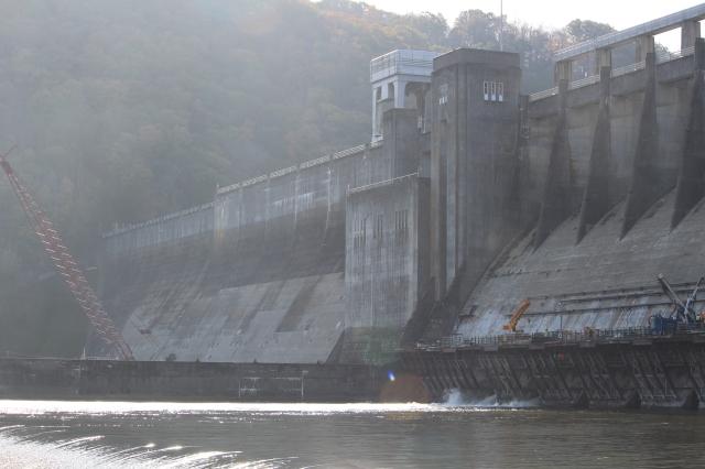 Early morning at Bluestone Dam in West Virginia
