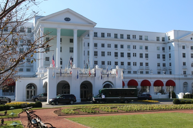The stately entrance to The Greenbrier in White Sulphur Springs, West Virginia.