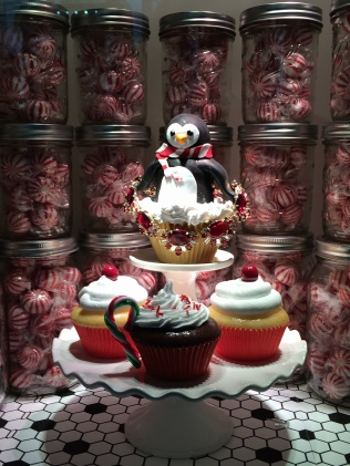 Christmas cupcakes and jars of peppermints: Lord & Taylor NYC