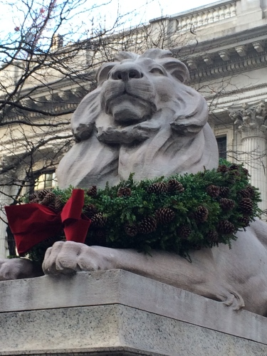 Patience (or is this Fortitude?) in front of Schwarzman Building, New York Public Library