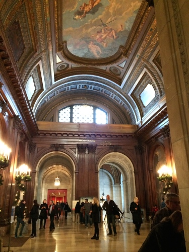 Second floor landing with painted ceiling, Schwarzman Building, New York Public Library