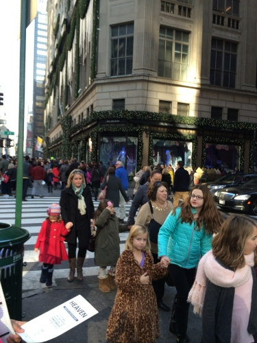 Moms, daughters, and dolls lined up to get into American Girl NYC