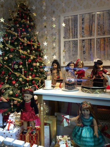 American Girl dolls lined up in the windows on Fifth Avenue, New York City