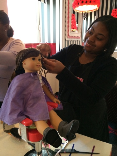 Hair styling for dolls is just part of the fun at American Girl NYC!