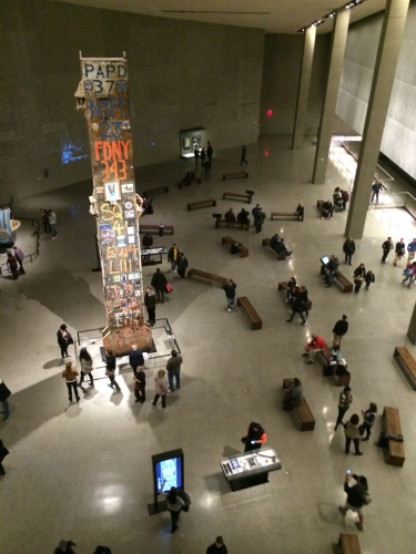 View from above of salvaged artifacts and tributes to victims