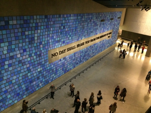 """Mosaic wall with quote: """"No day shall erase you from the memory of time."""""""