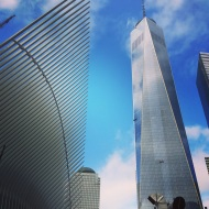 Sleek buildings greet visitors as they approach the 9/11 Memorial Museum in NYC.