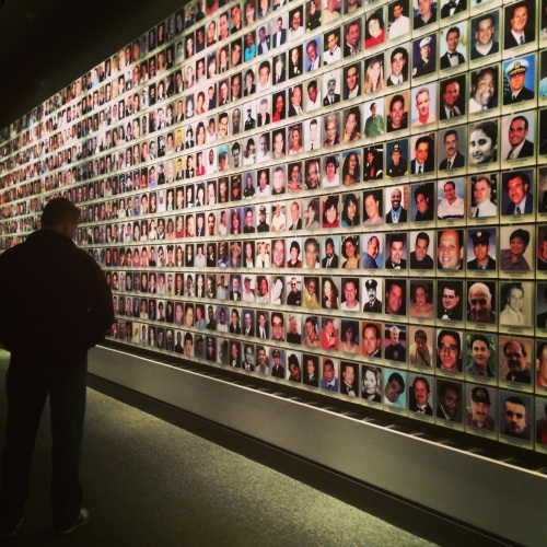 Wall of photos -- part of In Memoriam