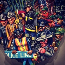 Artist Red Grooms portrays those who came to the aid of victims of 9/11