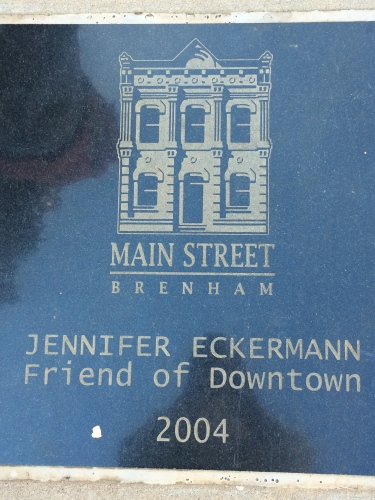 Honoring donors as Friends of Downtown Brenham, Texas, with sidewalk squares.