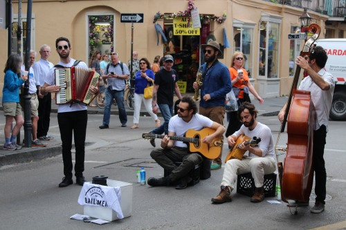 Playing on Royal Street to a welcoming, early-morning crowd.