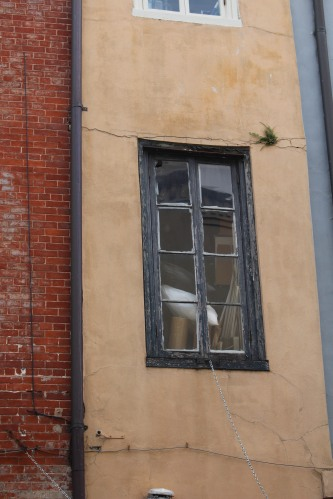 And old window ties together aging brick and stucco walls for a glimpse of French Quarter charm.
