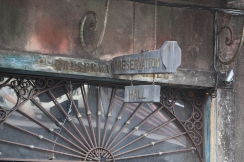 Preserving more than the rich heritage of jazz, the exterior of Preservation Hall shows off its ironwork and aging exterior.