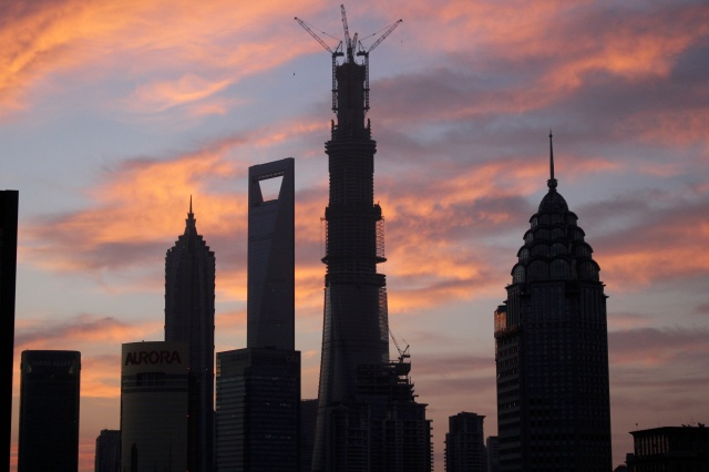 Sundown view of a futuristic area of Shanghai:  Pudong