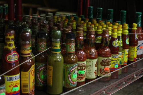 Hot sauce all lined up at Central Grocery, New Orleans