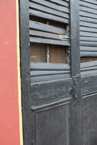 Doors with broken slats, painted many times.