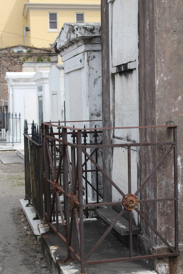 Ironwork with embellishment, St. Louis Cemetery 1, New Orleans