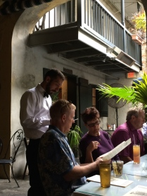 Open-air dining in the courtyard at Napoleon House