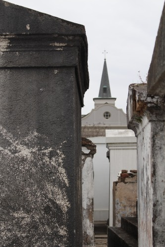 Looking down an alley at St. Louis Cemetery 1