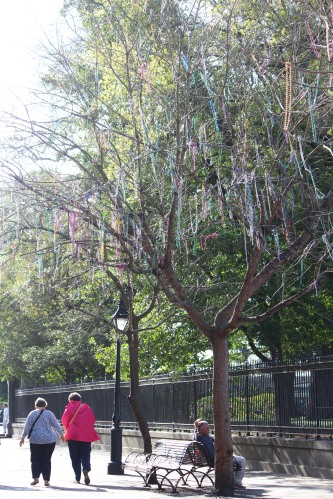 Colorful beads drip from the trees near Jackson Square.