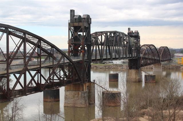 A view of the rock Island Railroad Bridge from the Clinton Presidential Library