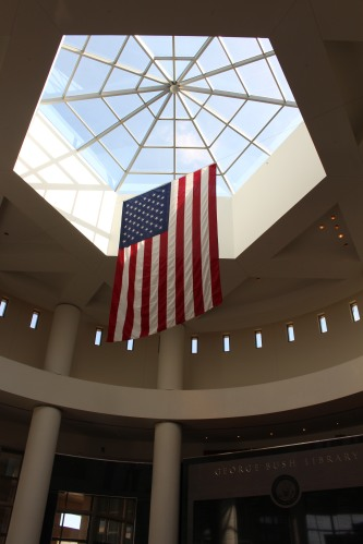 The graceful  lobby of Bush Presidential Library and Museum.