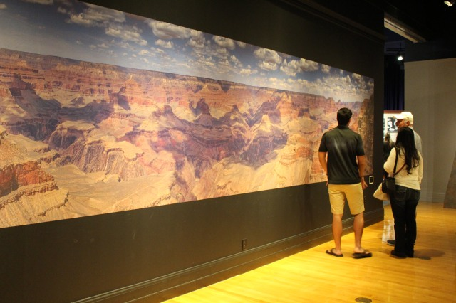 A photo mural of the Grand Canyon