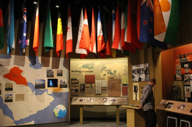 Flags of many countries Bush visited during his term of office hang in the Presidential Library and Museum.