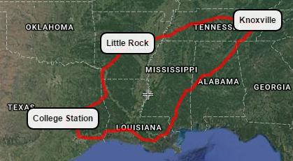 Taking the circuitous route from Knoxville to Houston via Little Rock, AR and College Station, TX (and a few other places along the way)!
