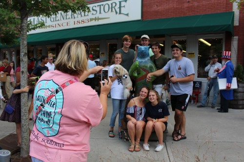 Taking pictures with the bears on Main Street, Hendersonville, NC