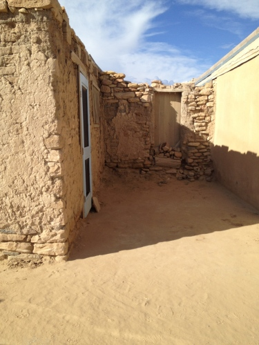 Afternoon shadows at pueblo of Acoma
