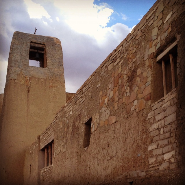 Dried bricks covered in mud form the basis for this church at Pueblo of Acoma.