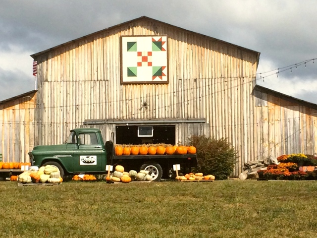 The big barn at Oakes Farm sports a quilt pattern on it, welcoming all to the annual Oakes Farm Corn Maze and Pumpkin Patch.