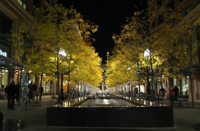 Admiring the charm of a lighted downtown mall in Salt Lake City after dark