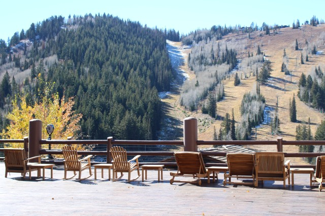 View of ski slopes from deck at Stein Eriksen Lodge
