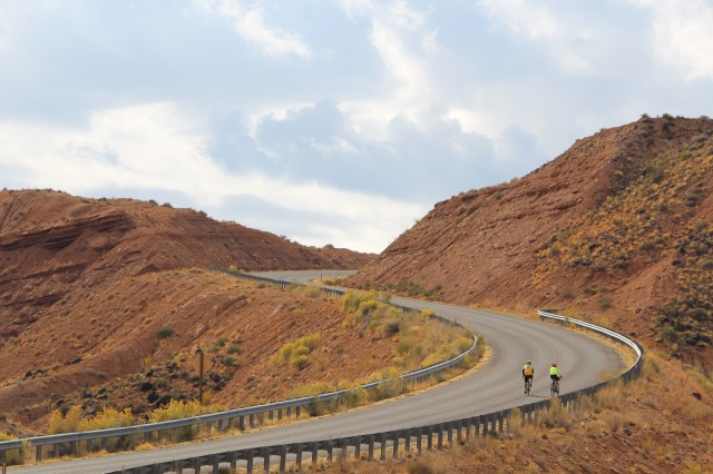 Cycling the hillside near Capitol Reef