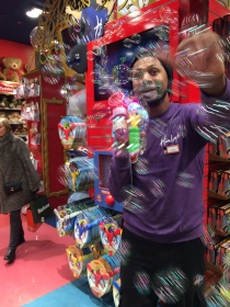 Fun with bubbles at Hamleys Toy Store