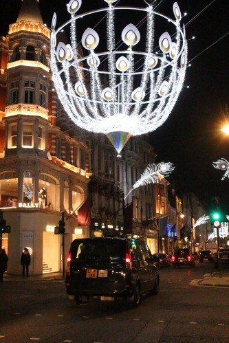 Hanging above Bond Street, these sparkling orbs marked the spot for Christmas finery.