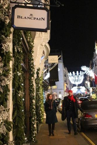 Shoppers on Bond Street -- enjoying the lights and windows!
