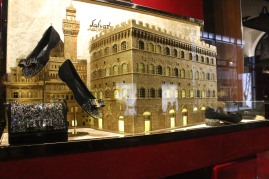 Glittery buildings formed the backdrop for Ferragamo shoes.
