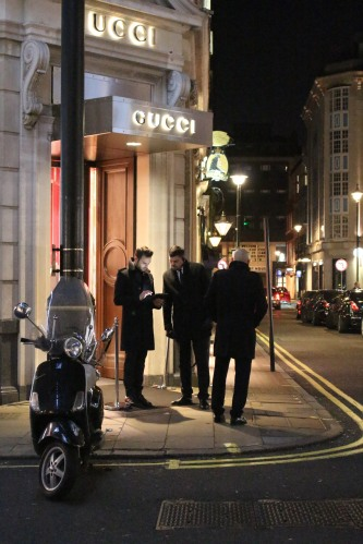 Quite the stir at Gucci, the only shop open after hours on London's Bond Street.