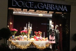 Sumptuous food filled the windows of Dolce & Gabbana.