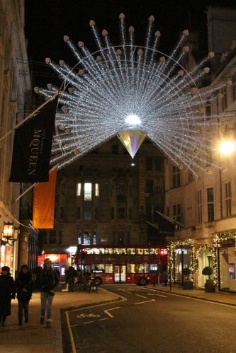 Programmed lights fanned out over and over again, bringing London's Bond Street to life.