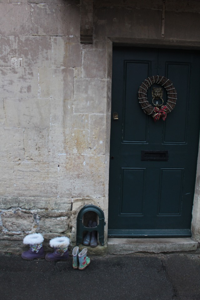 Pretty doorway in the Cotswolds -- with boots!