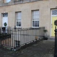 Postcards from England: Christmas 2016 -- Yellow door at Royal Crescent