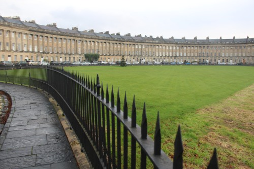 View from the front lawn of Royal Crescent in Bath -- one of England's finest examples of Georgian architecture