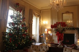 Richly appointed, beautifully decorated lobby at The Royal Crescent Hotel and Spa, Bath, England.